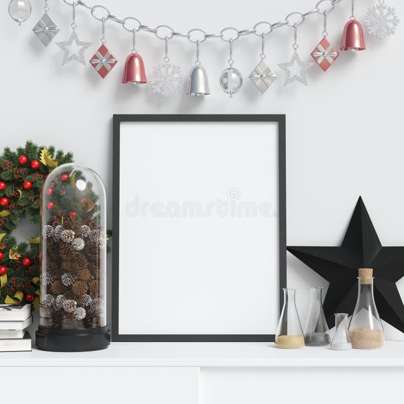 Maqueta del marco del cartel de la decoración de la Navidad libre illustration
