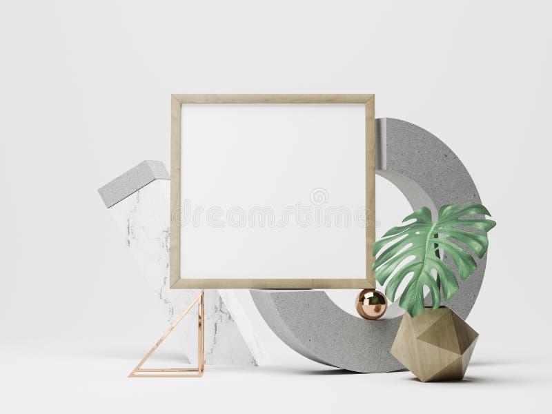 Maqueta del marco del cartel ilustración 3D ilustración del vector