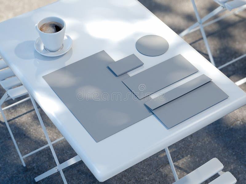 Maqueta del negocio en la tabla de la calle cerca del restaurante, representación 3d stock de ilustración