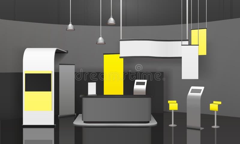 Maqueta del soporte 3D de la exposición de la publicidad ilustración del vector