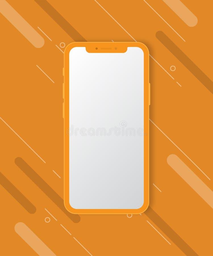 Maqueta del teléfono móvil en fondo anaranjado fotos de archivo libres de regalías