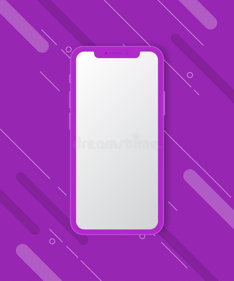 Maqueta del teléfono móvil en fondo púrpura fotos de archivo