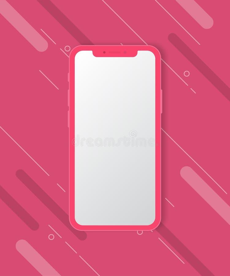 Maqueta del teléfono móvil en fondo rosado fotos de archivo