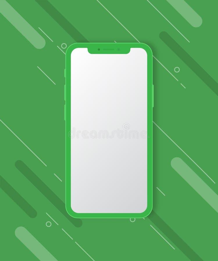 Maqueta del teléfono móvil en fondo verde foto de archivo