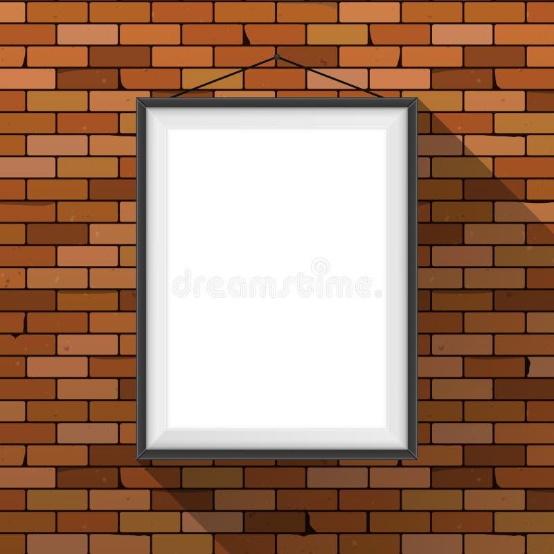 Maqueta del vector Cartel blanco con la ejecución negra del marco en una pared de ladrillo rojo oscuro Espacio en blanco vacío Fo stock de ilustración
