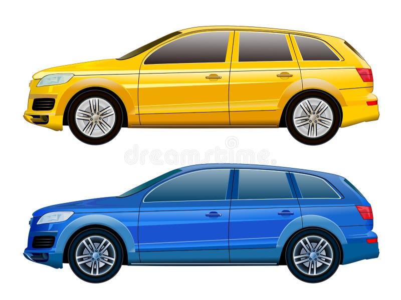 Maqueta del vector del coche para hacer publicidad, identidad corporativa Aislado stock de ilustración