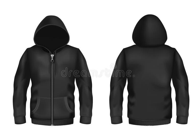Maqueta del vector con sudadera con capucha negra realista ilustración del vector