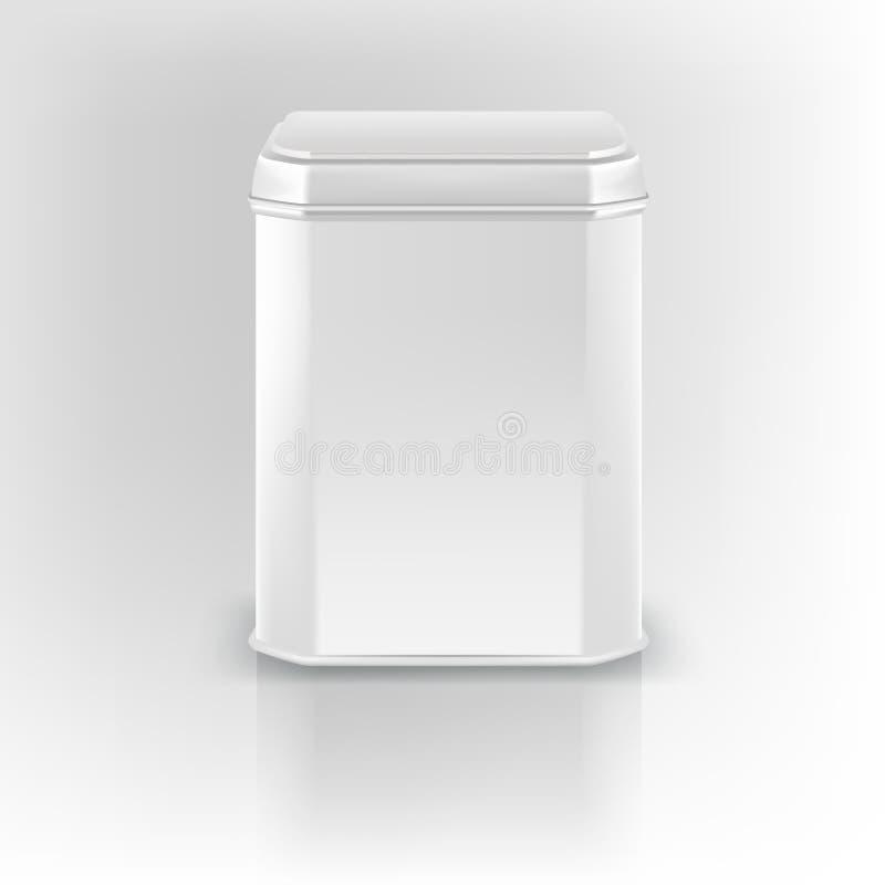 Maqueta del vector 3D Empaquetado vacío de la lata de la casilla blanca Té, café, ilustración del vector