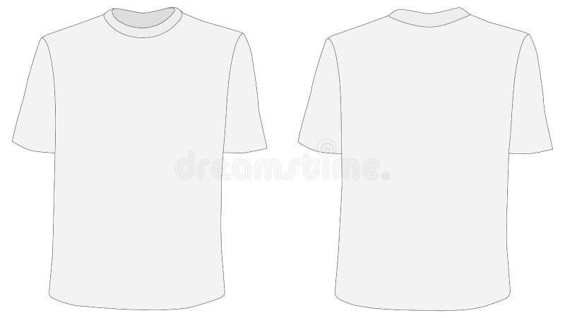 Maqueta del vector de la camiseta, frente y lados traseros ilustración del vector
