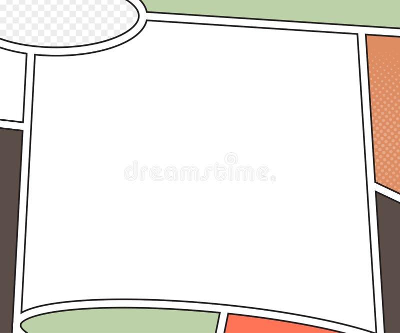 Maqueta del vector de la página del cómic estilo del arte pop stock de ilustración
