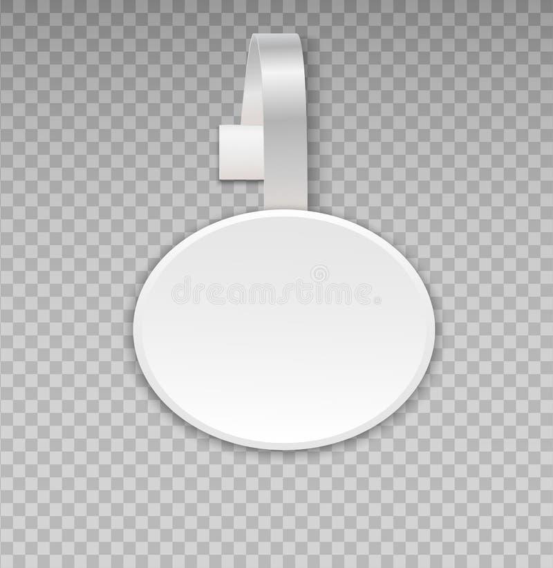 Maqueta del Wobbler con el fondo transparente Etiqueta plástica del punto del precio o de ventas de la tienda de la publicidad de ilustración del vector