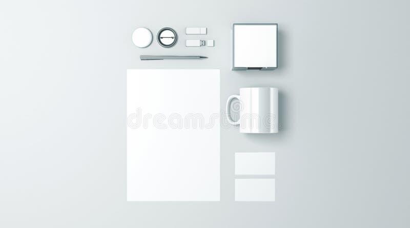 Maqueta determinada de los efectos de escritorio blancos en blanco de la oficina stock de ilustración
