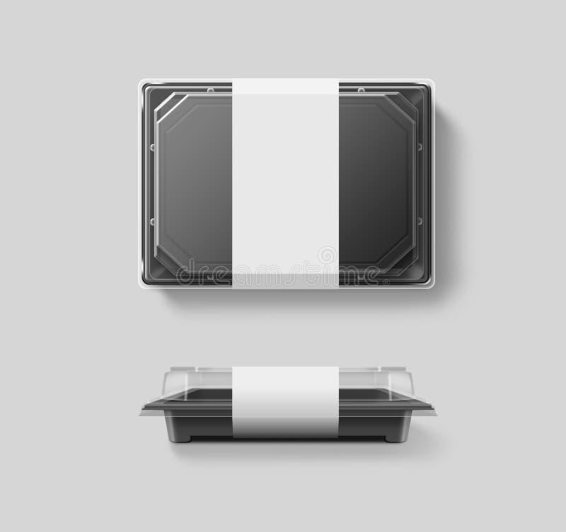 Maqueta disponible plástica en blanco del envase de comida, tapa transparente, imagenes de archivo
