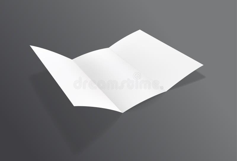 Maqueta doblada realista del folleto Aviador de la hoja del Libro Blanco libre illustration