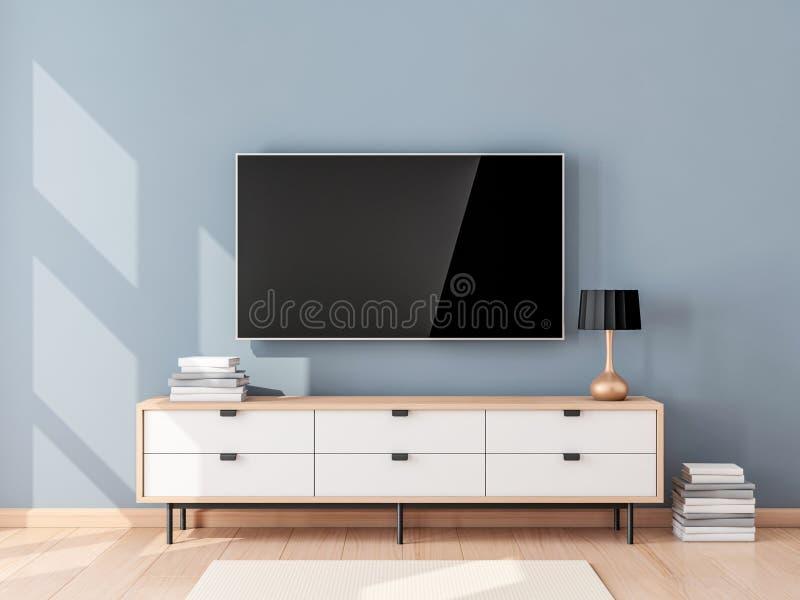 Maqueta elegante de la TV con la pantalla en blanco que cuelga en la pared en sala de estar moderna ilustración del vector