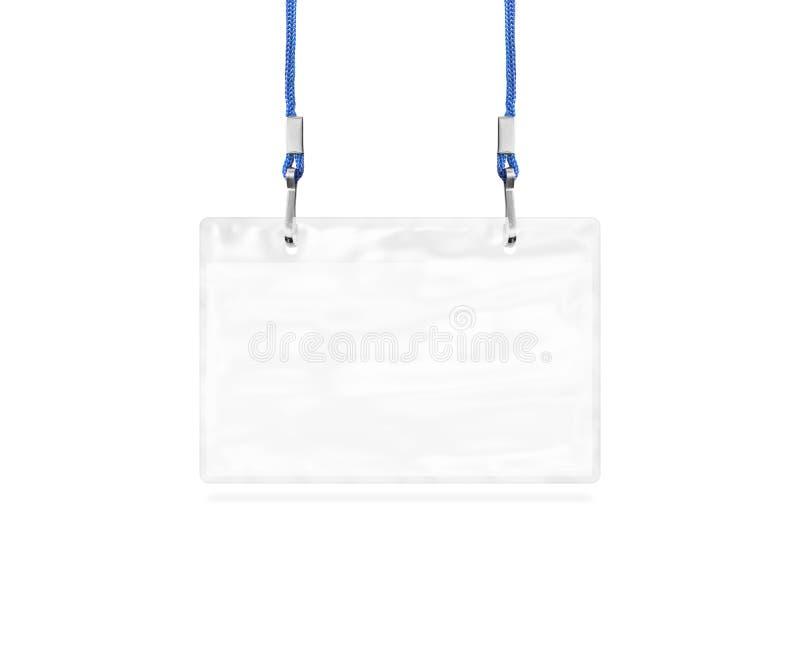 Maqueta en blanco del bagde aislada en blanco Etiqueta vacía llana del nombre fotos de archivo libres de regalías