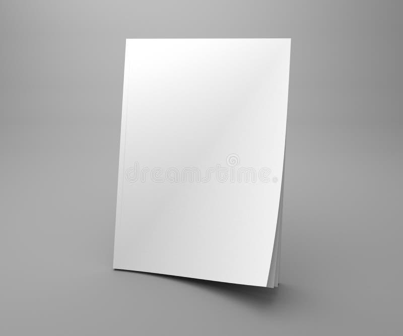 Maqueta en blanco del ejemplo de la revista 3D de la cubierta de la situación del blanco ilustración del vector