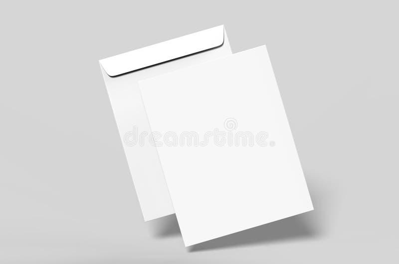 Maqueta en blanco del sobre C4, plantilla en blanco 3d rinden la ilustración stock de ilustración