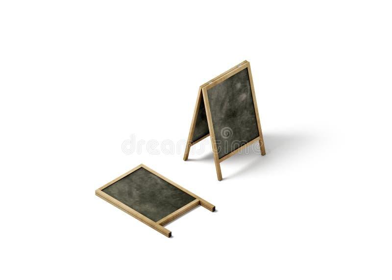 Maqueta en blanco del soporte de la calle del tablero de tiza, visión isométrica stock de ilustración