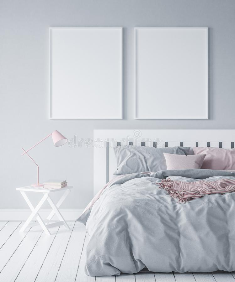 Maqueta en el dormitorio moderno, estilo escandinavo ilustración del vector
