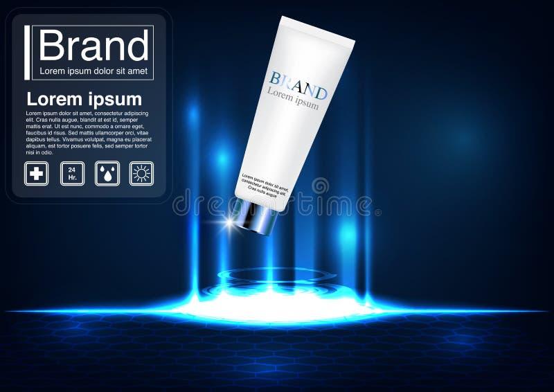 Maqueta facial de lujo de la espuma del concepto cosmético del anuncio ilustración del vector