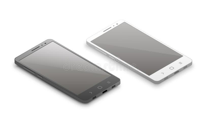 Maqueta isométrica del smartphone Ejemplo del vector de smartphones blancos y negros isométricos stock de ilustración