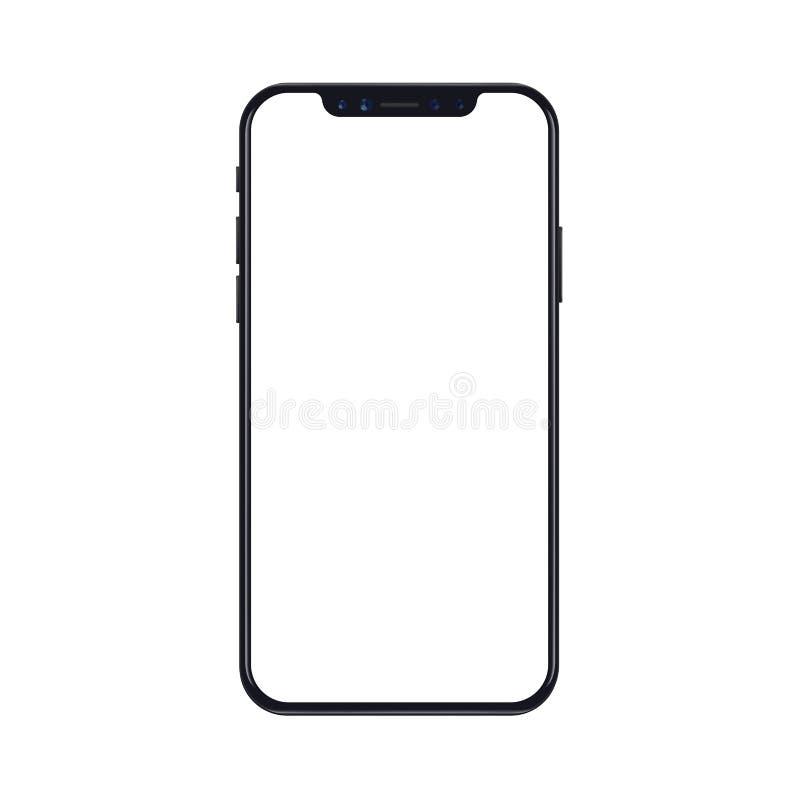 Maqueta móvil del teléfono del smartphone aislada en el fondo blanco con la pantalla en blanco Ilustración realista del vector stock de ilustración