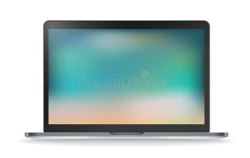 Maqueta moderna del vector del ordenador portátil con el fondo blured libre illustration