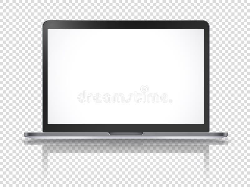 Maqueta moderna del vector del ordenador portátil con la reflexión stock de ilustración