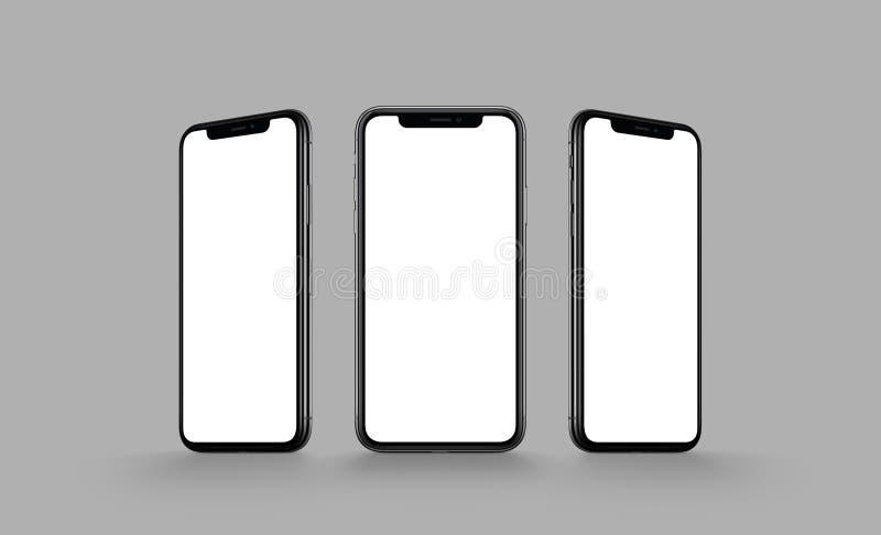 Maqueta multi de la pantalla de Smartphone en fondo gris stock de ilustración
