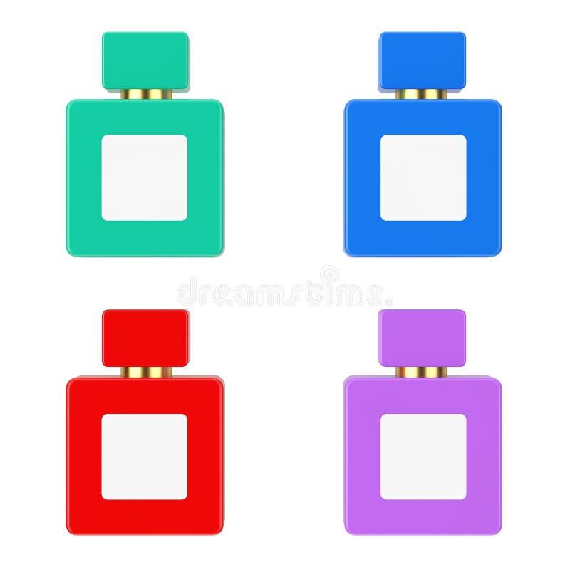 Maqueta multicolora de la botella de Parfume del cubo con la etiqueta en blanco para el diseño de Yourth representación 3d stock de ilustración
