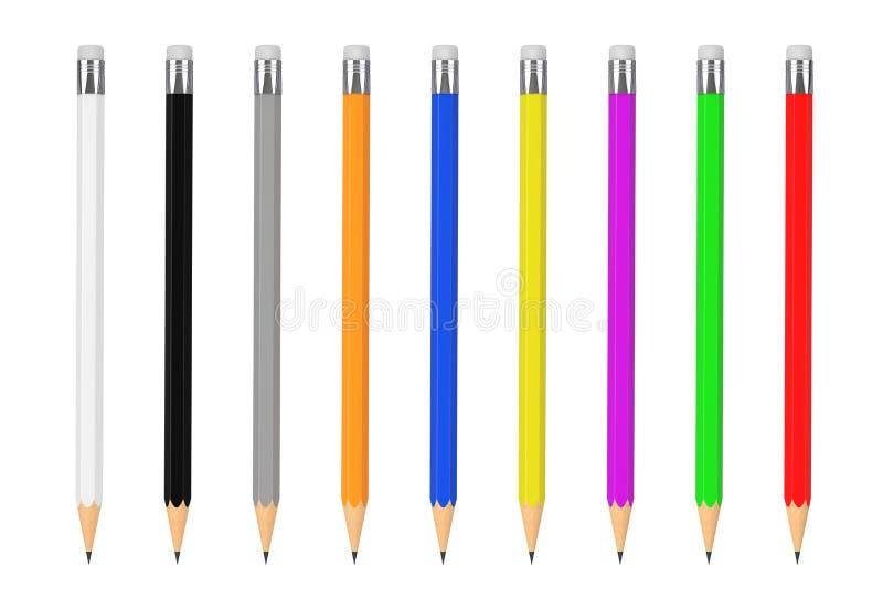 Maqueta multicolora de los lápices con el espacio en blanco para el suyo diseño 3d libre illustration