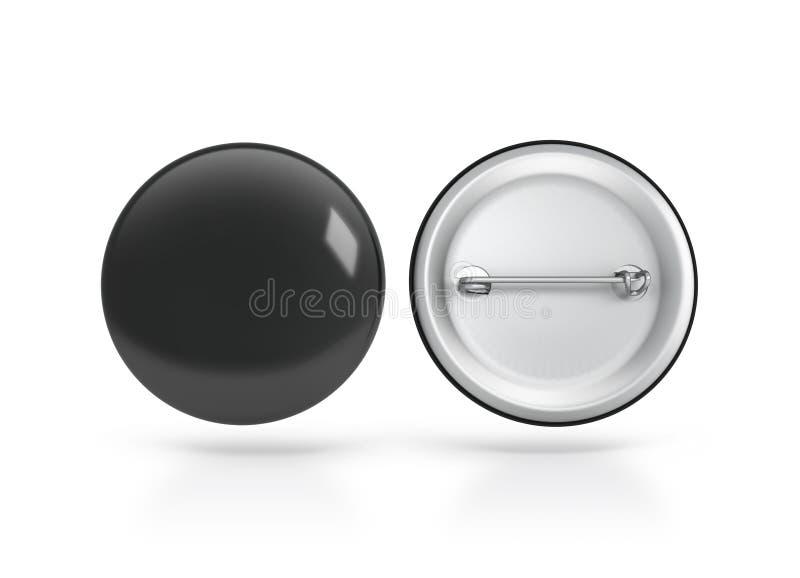 Maqueta negra en blanco de la insignia del botón, lado trasero delantero, trayectoria de recortes ilustración del vector