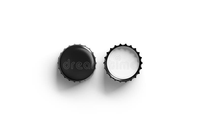 Maqueta negra en blanco de la tapa de la cerveza, lado superior de la visión, delantero y trasero stock de ilustración