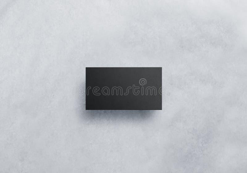 Maqueta negra en blanco del diseño de tarjeta de la visita, papel gris del arte foto de archivo libre de regalías