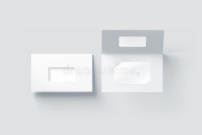 Maqueta plástica blanca en blanco de la tarjeta dentro del tenedor de papel del folleto stock de ilustración