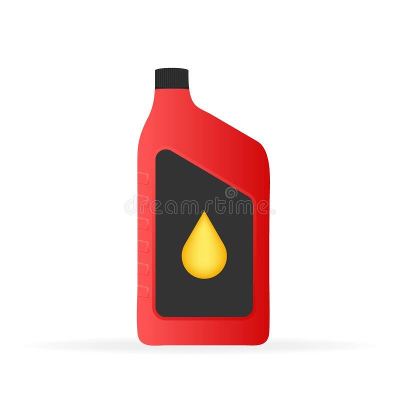 Maqueta plástica del paquete de la botella del aceite de motor en el fondo blanco Illustrtaion de la acción del vector libre illustration