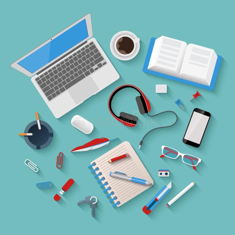 Maqueta plana del lugar de trabajo del vector: ordenador portátil, teléfono, libreta, oficina ilustración del vector