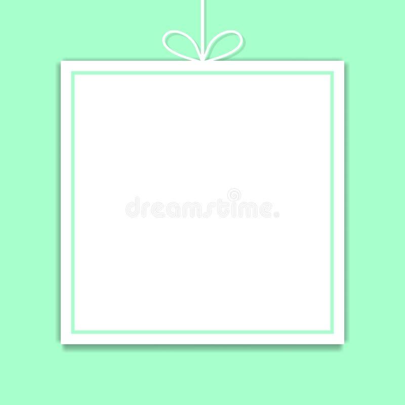 Maqueta Plantilla del papel cuadrado con el espacio para el texto aislado en fondo de la menta Ilustración del vector para su agu libre illustration