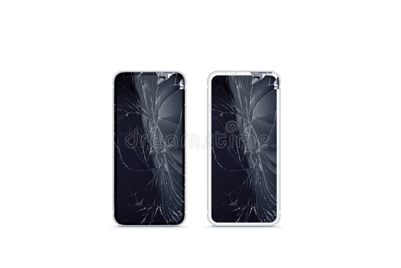 Maqueta quebrada de la pantalla del teléfono móvil, vista delantera blanco y negro, fotos de archivo