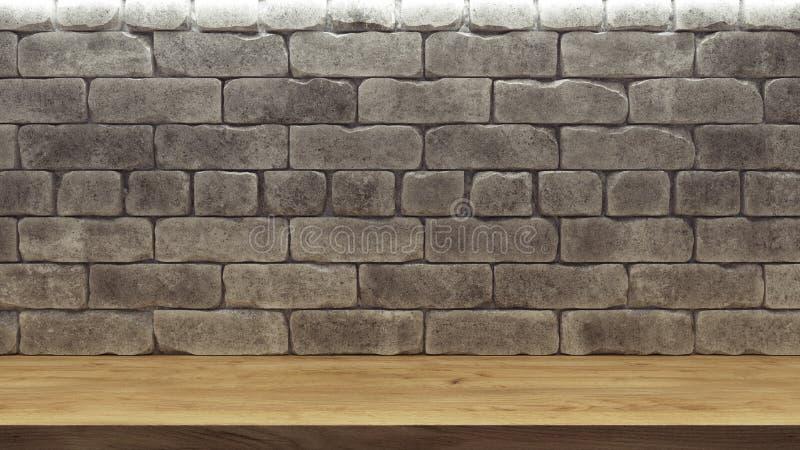 Maqueta realista con el estante de madera de la pared de ladrillo para el diseño de la decoración Fondo del espacio Estante vac?o libre illustration