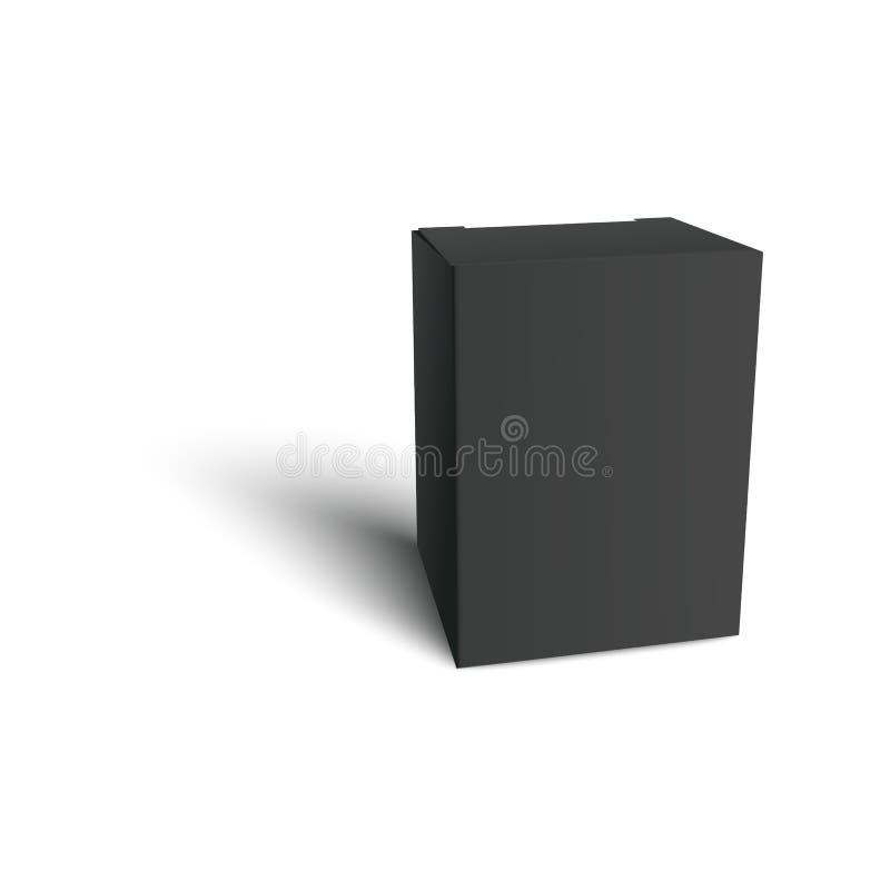 Maqueta realista de la caja de cartón del espacio en blanco, paquete de papel negro con el espacio vacío para el texto o marcado  ilustración del vector