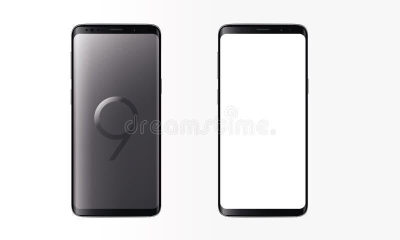 Maqueta realista de los dispositivos de la pantalla táctil del teléfono móvil de la galaxia S9+ Android stock de ilustración