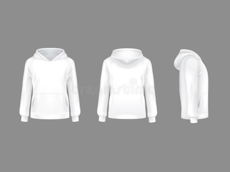 Maqueta realista del blanco del suéter con capucha del vector 3d ilustración del vector