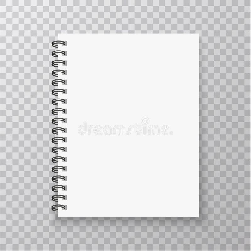 Maqueta realista del cuaderno Cuaderno con espiral de la plata metalizada Mofa en blanco para arriba con la sombra Ilustración de stock de ilustración