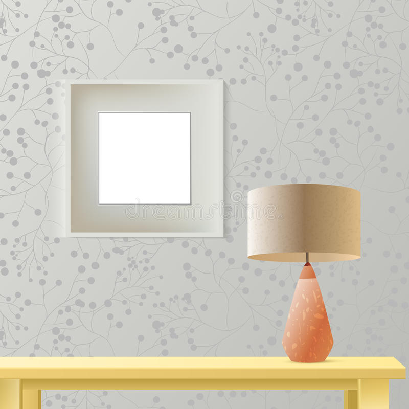 Maqueta realista del sitio interior con el marco o imagen en la pared, la tabla de madera y la lámpara Acodado, editable Moda de  stock de ilustración