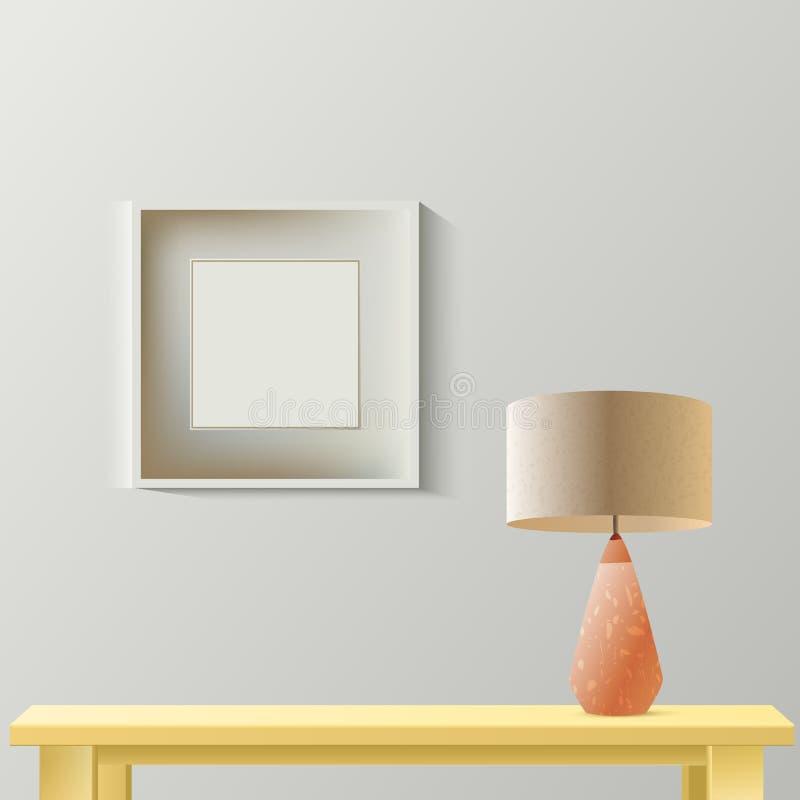 Maqueta realista del sitio interior con el marco o imagen en la pared, la tabla de madera y la l?mpara Acodado, editable Moda de  libre illustration