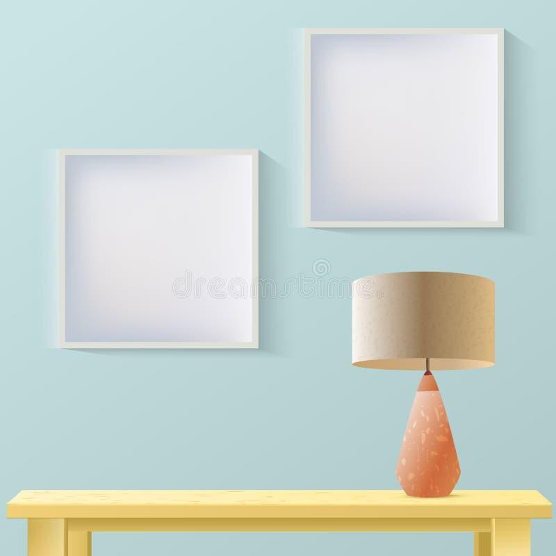Maqueta realista del sitio interior con el marco o imagen en la pared, la tabla de madera y la l?mpara Acodado, editable Moda de  stock de ilustración