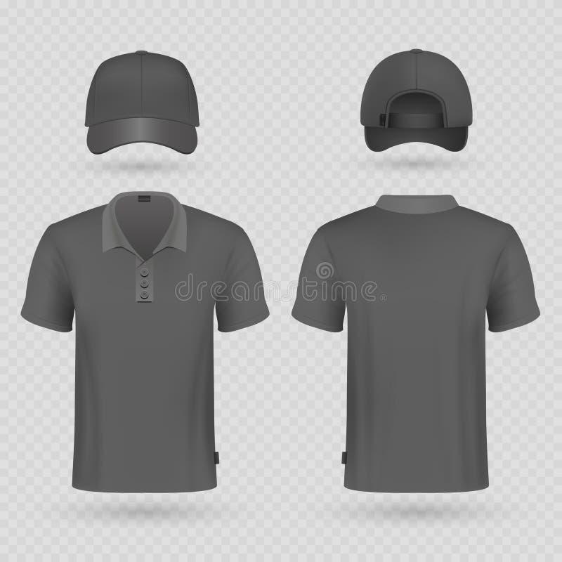 Maqueta realista del vector de la gorra de béisbol negra y de la camiseta masculina del polo libre illustration