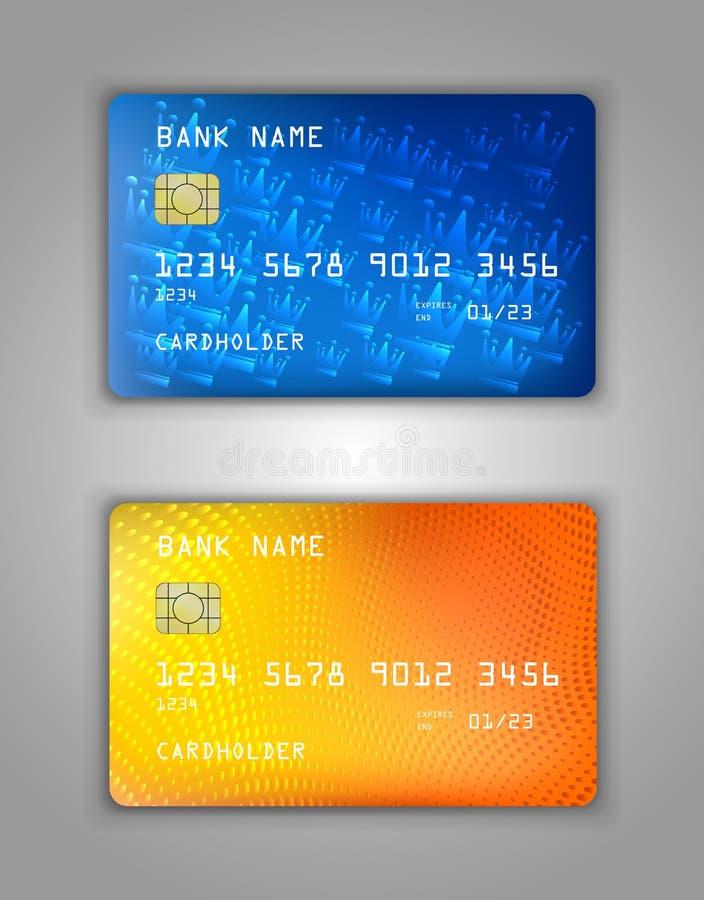 Maqueta realista determinada de la tarjeta de banco de crédito del vector Corona, espiral, puntos, burbujas, tono medio, naranja, ilustración del vector